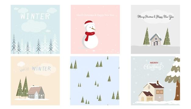 Vector cute set weihnachtsgrußkarte der wintermärchenlandschaft im dorf