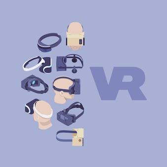 Vector das verzierungsdesign, das von den isometrischen kopfhörern der virtuellen realität gemacht wird