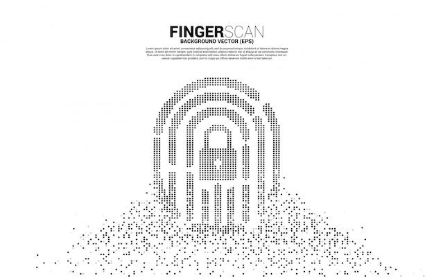 Vector daumenabdruck mit verschlussauflagenmitte von der pixelumwandlung. konzept für finger-scan-technologie und zugriff auf die privatsphäre.
