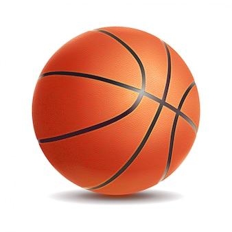 Vector den realistischen basketballball, der auf einem weißen hintergrund lokalisiert wird