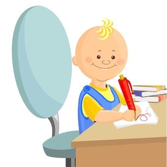 Vector, der kleine junge kletterte auf den arbeitsbereich der eltern und zeichnete auf papier