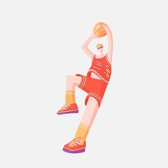 Vector die ebene, die skizzenillustration des basketballprofis farbig ist und spielen mit ball in der dynamischen haltung, lokalisiert auf weiß.