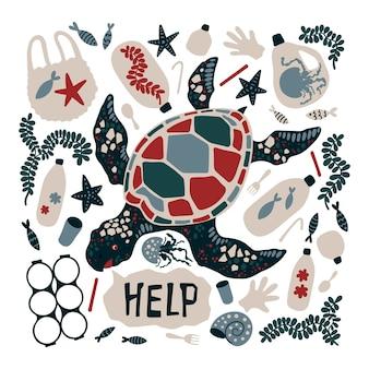 Vector die flache hand gezeichnete schildkröte, die durch meeresmüll und abfall umgeben wird.