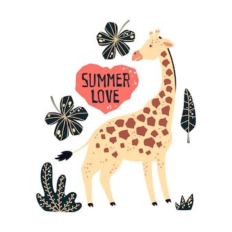 Vector die flache hand gezeichneten giraffen, die durch tropische anlagen und blumen umgeben werden.