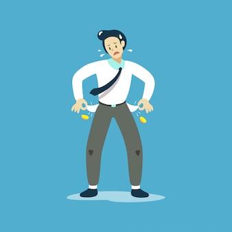 Vector die illustration des armen geschäftsmannes seine leeren taschen zeigend