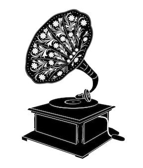 Vector die illustration des retro- grammophons lokalisiert auf weißem hintergrund