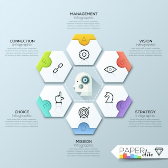 Vector die infographic-berichtsschablone, die von den linien und von den ikonen gemacht wird