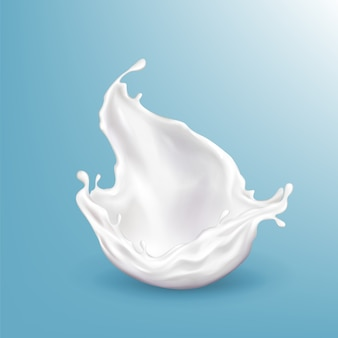 Vector die realistische spritzende milch 3d, helles getränk, das auf blauem hintergrund lokalisiert wird.