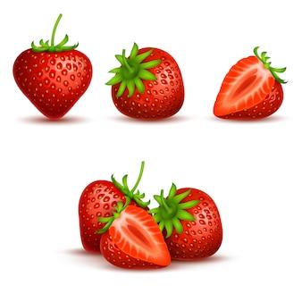 Vector die realistische süße und frische erdbeere, die auf weißem hintergrund lokalisiert wird.