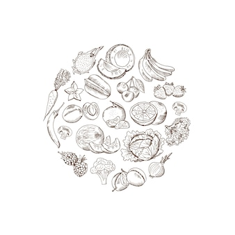 Vector die skizzierte hand gezeichnete gemüse- und fruchtillustration in der form der abgerundeten form, die auf weißem hintergrund lokalisiert wird