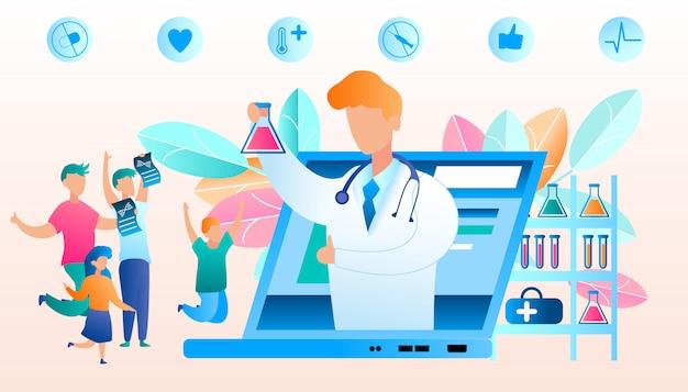 Vector doctor online berichtet über eine gute ergebnisanalyse. flache illustrations-glückliche familie, die für freude springt, nachdem sie ergebnisstudienanalyse gelernt hat. medizinisches labor, das biologische krankheit studiert. laptop bildschirm