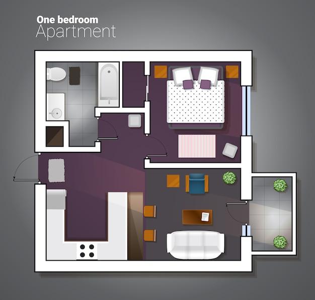 Vector draufsichtillustration der modernen wohnung mit einen schlafzimmern. detaillierter architekturplan des esszimmers kombiniert mit küche, bad, schlafzimmer. hauptinnenraum