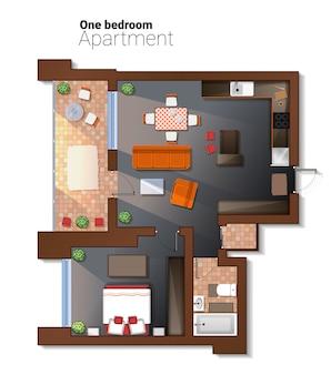 Vector draufsichtillustration der modernen wohnung mit einen schlafzimmern.