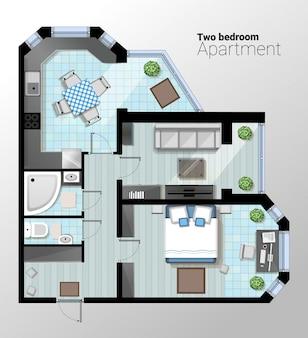 Vector draufsichtillustration der modernen wohnung mit zwei schlafzimmern. detaillierter architekturplan des esszimmers kombiniert mit küche, bad, schlafzimmer. hauptinnenraum