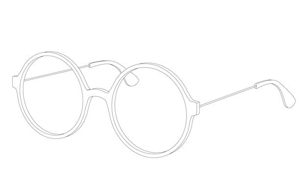 Vector einfache runde brillenbrille isoliert auf weiß