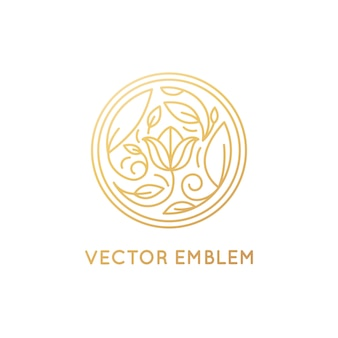 Vector einfaches und elegantes logodesignemblem in der modischen linearen art