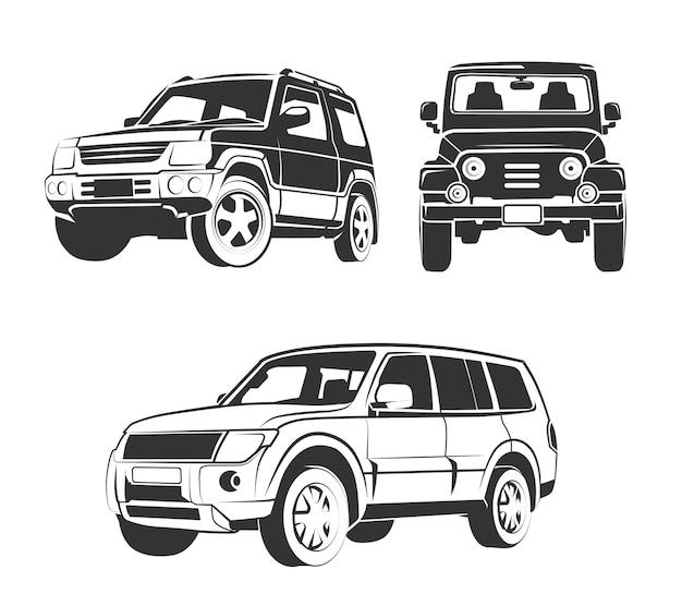 Vector elemente für suv-auto-embleme im gelände