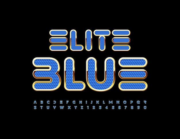 Vector elite blue und gold alphabet buchstaben und zahlen set futuristische strukturierte schriftart