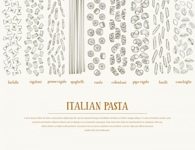 Vector fahne mit verschiedenen arten von traditionellen italienischen teigwaren.
