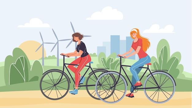 Vector flache cartoon-frauenfiguren fahren mit dem fahrrad auf der straße. junge stilvolle glückliche süße mädchen, die fahrrad im stadtpark-web-online-banner-design reiten. gesunder lebensstil, sportlich, lebensszene, soziales story-konzept