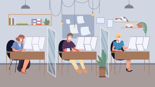 Vector flache cartoon-mitarbeitercharaktere in gesichtsmasken, die mit workflow im büroarbeitsplatz beschäftigt sind