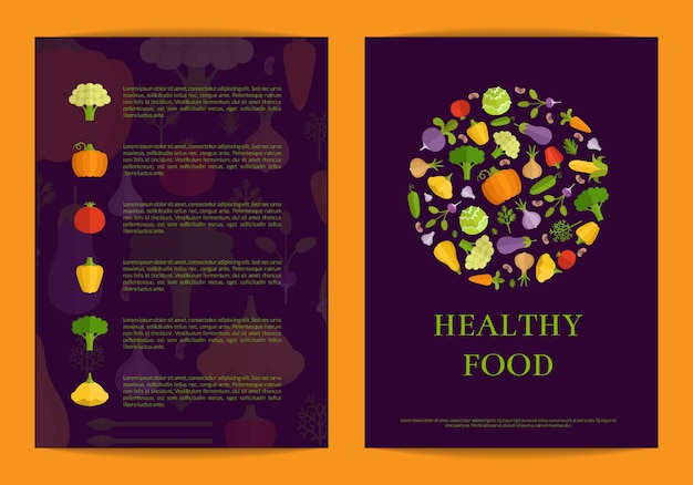 Vector flache gemüsekarte, broschüre, fliegerschablone. abbildung des gesunden lebensmittels