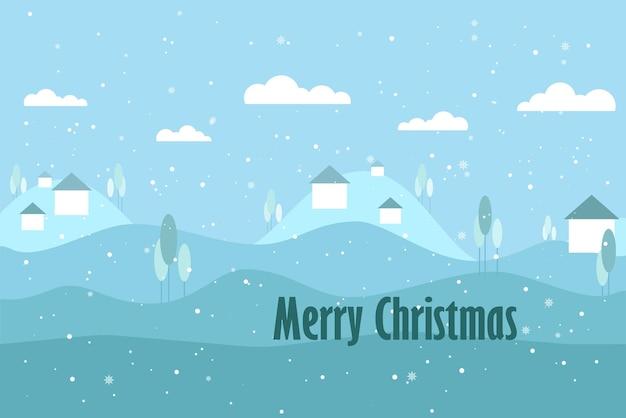 Vector flache illustration der weihnachtswinterlandschaftskarte berge mit schneebedecktem tag der kleinen häuser