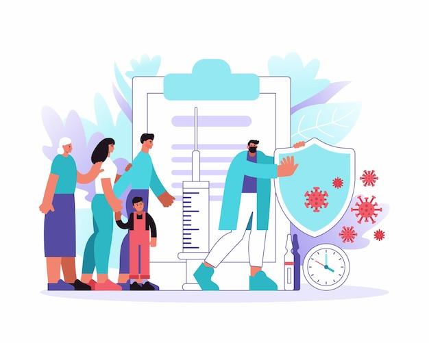 Vector flache illustration des männlichen medizinischen praktikers, der mehrgenerationenfamilie vor coronavirus-keimen mit schild schützt
