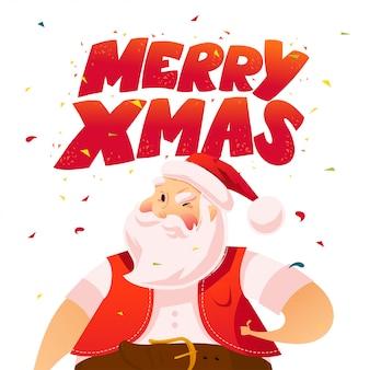 Vector flache illustration des weihnachtsmanns und frohe weihnachtsglückwünsche.