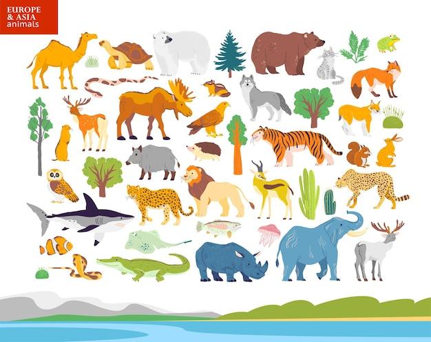 Vector flache illustration von europa asien tiere pflanzen eisbär elch eichhörnchen wolf elefant tiger