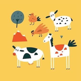Vector flache illustrationen von stehenden tieren - pferd, kuh, huhn und vogel mit schafen. lustige charaktere für kinder. cartoon-stil.