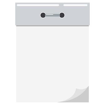 Vector flache karikaturartillustration des neuen leeren leeren weißen abreißpapiers und des metallwandkalendersymbols lokalisiert auf weiß