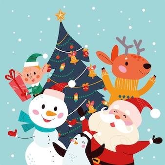 Vector flache karikaturillustration der frohen weihnachten mit lustigem weihnachtsmann, schneemann, elfcharakteren, pinguin und ren am verzierten weihnachtstannenbaum. für karte, banner, einladung, poster, flayer.