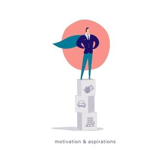 Vector flache karikaturillustration des geschäftsmannbürocharakters, der auf blockstapel wie podium lokalisiert auf weißem hintergrund steht metapher amperesymbol errungenschaften gewinner motivation wachstum erfolg