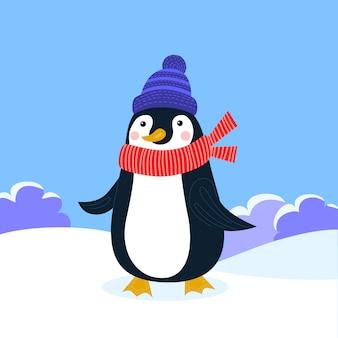 Vector flache llustration für karten, logo oder abzeichen. feiertagskarte mit nettem pinguin in der winterkleidung