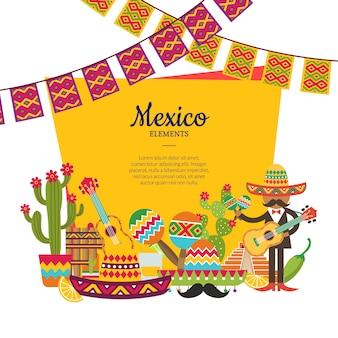 Vector flache mexiko-attribute unter rahmen mit platz für text- und girlandenillustration