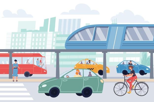 Vector flache zeichentrickfiguren im stadtverkehr. verschiedene menschen in straßenlage - sie fahren in autos, bussen, fahrrädern und oberirdischen u-bahnen. web-online-banner-design, lebensszene, soziales story-konzept