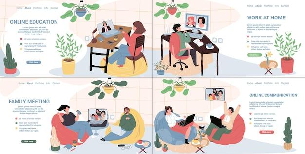 Vector flache zeichentrickfiguren mit online-video-messenger-konferenzkommunikation auf laptops. glückliche menschen sprechen mit freunden und verwandten, arbeiten und studieren mit web