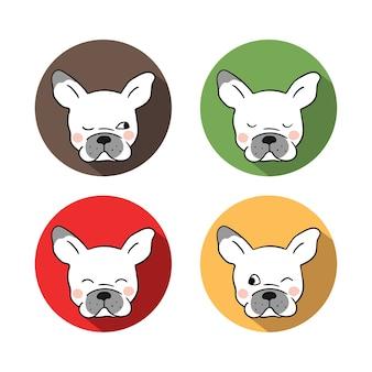 Vector flachen designkopf der französischen bulldogge