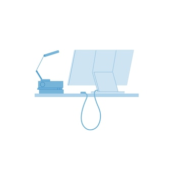 Vector flacher cartoon-all-in-one-desktop-pc auf dem schreibtisch isoliert auf leerem hintergrund-elektronische bürogeräte, moderne digitale technologien, arbeitsplatzorganisationskonzept, website-banner-anzeigendesign