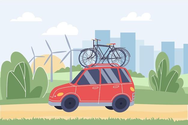 Vector flaches cartoon-auto mit fahrrädern auf dem dach. rotes begleitfahrzeug trägt fahrräder für sportler im stadtpark-web-online-banner-design. gesunder lebensstil, sportliche lebensszene, soziales story-konzept