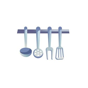 Vector flaches cartoon-küchengeschirr und küchenutensilien an haken isoliert auf leerem hintergrund-moderne wohnmöbel, küchengeräte-innenelemente-konzept, website-banner-anzeigen-design