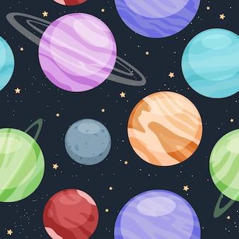 Vector flaches muster des sonnensystems mit der sonne und den planeten.