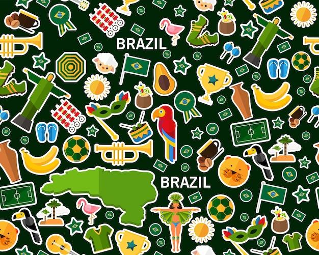 Vector flaches nahtloses beschaffenheitsmuster brasilien