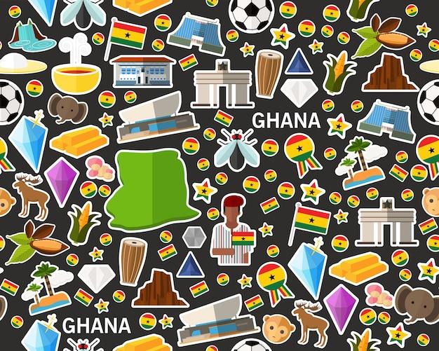 Vector flaches nahtloses beschaffenheitsmuster ghana