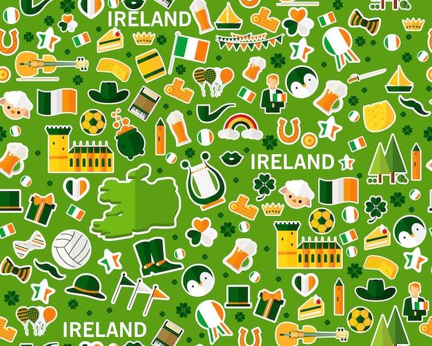 Vector flaches nahtloses beschaffenheitsmuster irland