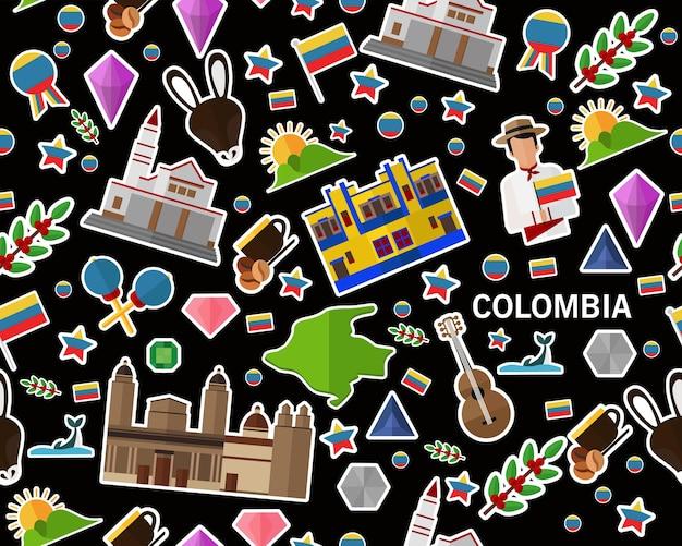 Vector flaches nahtloses beschaffenheitsmuster kolumbien