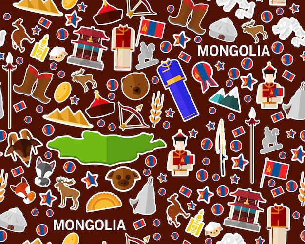 Vector flaches nahtloses beschaffenheitsmuster mongolei