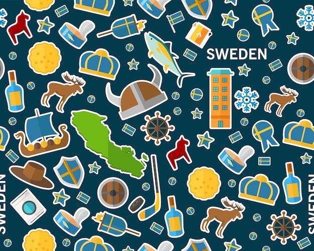 Vector flaches nahtloses beschaffenheitsmuster schweden