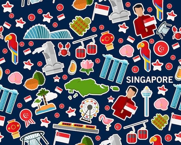 Vector flaches nahtloses beschaffenheitsmuster singapur